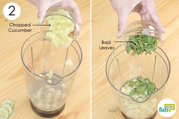 add chopped cucumber and basil leaves to make 5 min aloe vera water recipe detox body