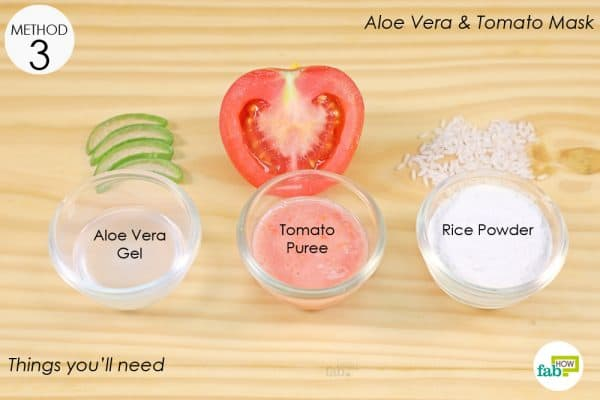 things you'll need to make aloe vera and tomato anti tan face pack