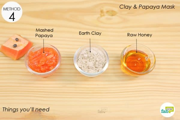 things you'll need to make papaya and clay tan removal face mask