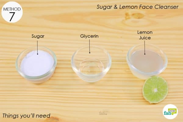things you'll need to make sugar lemon face scrub