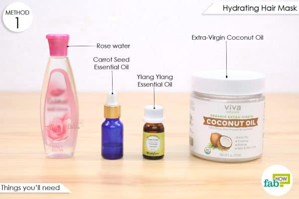 things you'll need to make rose water hydrating hair mask