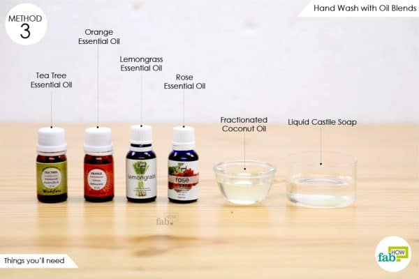things you'll need to make liquid hand soap with essential oil blends