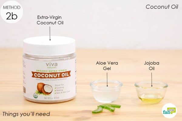 things you'll need to make diy coconut oil mixed with aloe vera and jojoba oil eye makeup remover