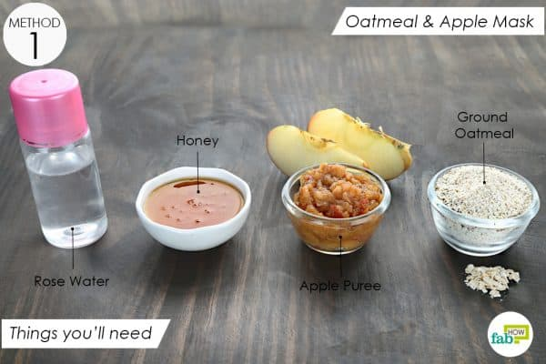 things you'll need to make apple and oatmeal face mask