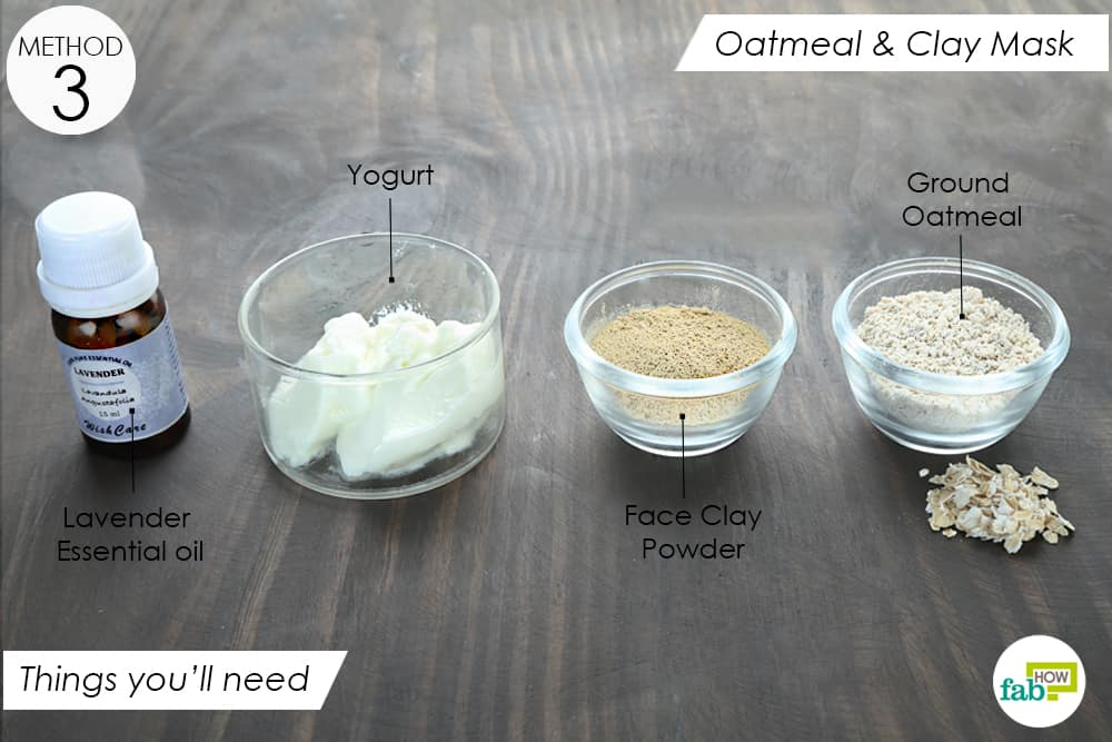 things you'll need to make oatmeal and clay mask