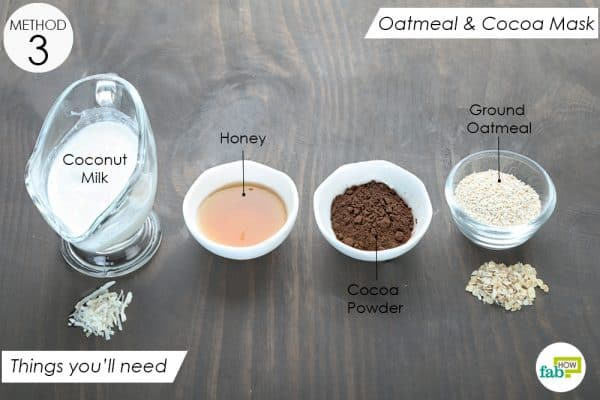 things you'll need to make oatmeal and cocoa face mask for dry skin