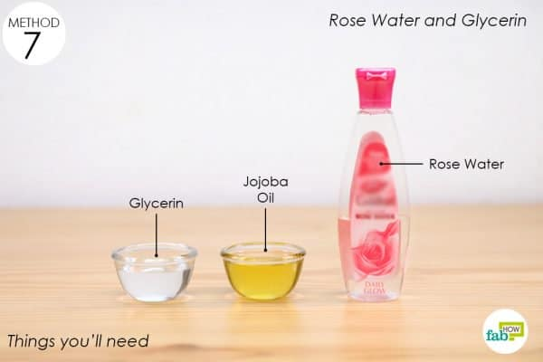 things you'll need to rose water jojoba oil and glycerin eye makeup remover
