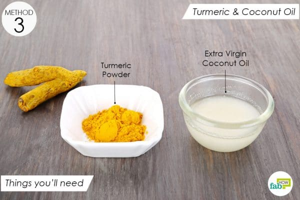 things you'll need to make turmeric and coconut oil paste