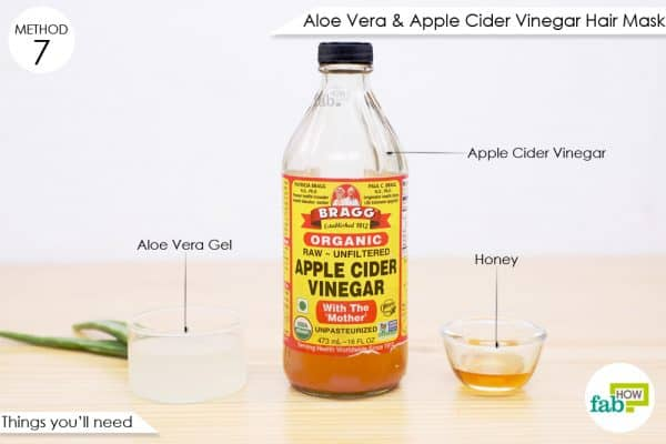 things you'll need to make aloe vera gel and apple cider vinegar hair mask