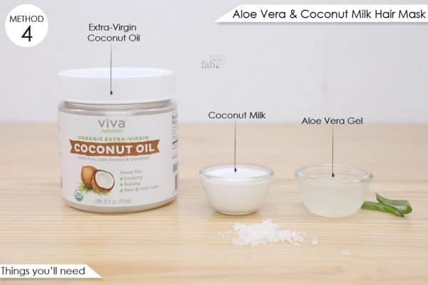things you'll need to make aloe vera and coconut milk hair mask