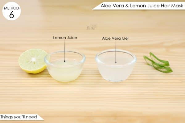 things you'll need to make aloe vera and lemon juice hair mask
