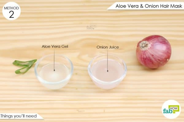 things you'll need to make aloe vera and onion juice hair mask