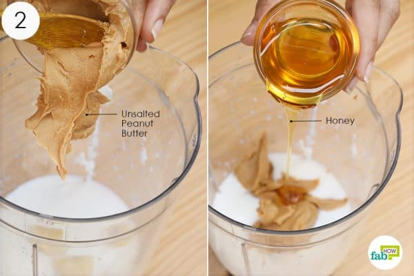 put peanut butter and honey into the blender