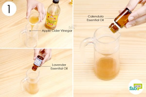 mix apple cider vinegar with lavender and calendula essential oil