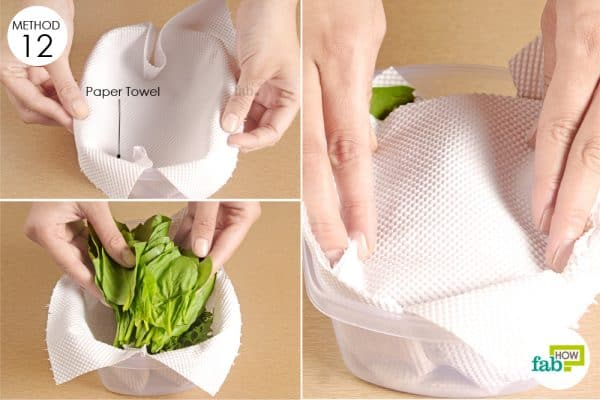 line the container with paper towel and store greens