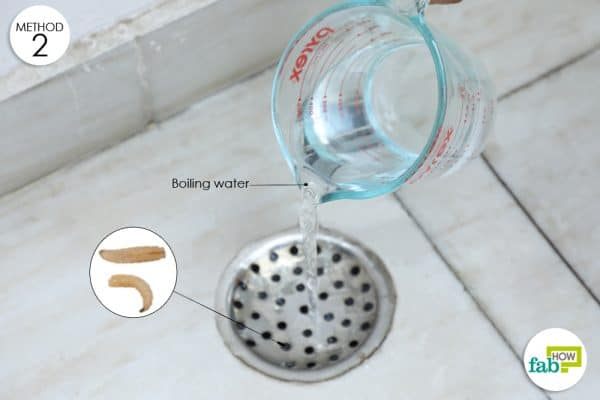 pour boiling water over drain