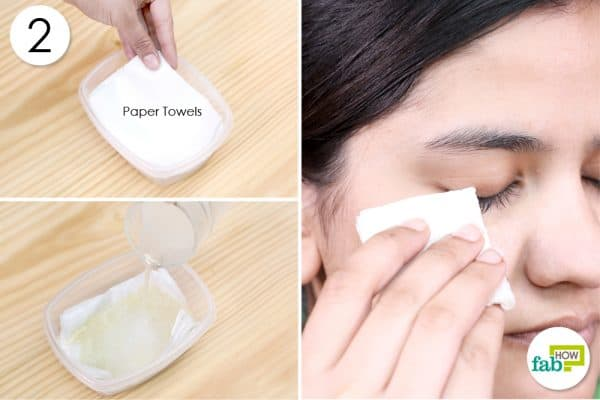 pour solution over paper towel