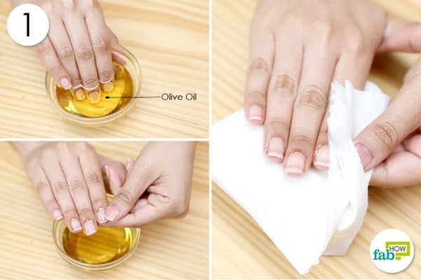 soak nails in olive oil
