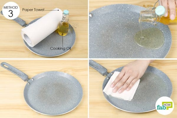 spread oil on pan with paper towel