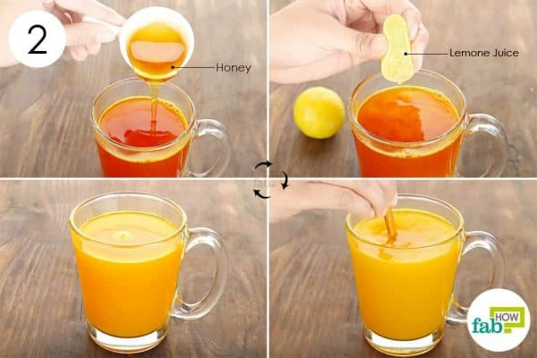 mix honey and lemon juice