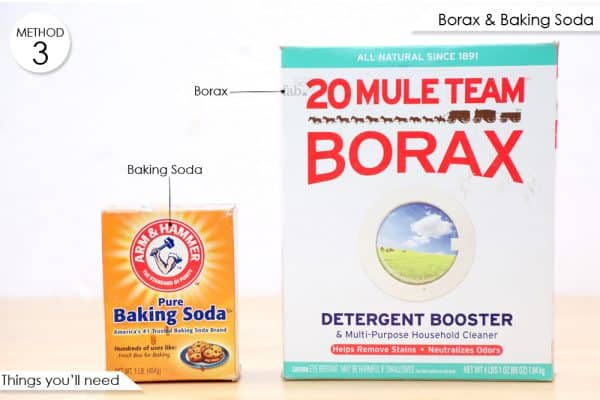 things you'll need to make baking soda and borax mixture to get of ladubugs