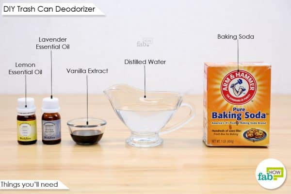 things you'll need to make the trash can deodorizer tabs