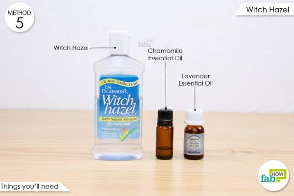 things you'll need to make Witch Hazel blend to reduce the pain and swelling from head bump