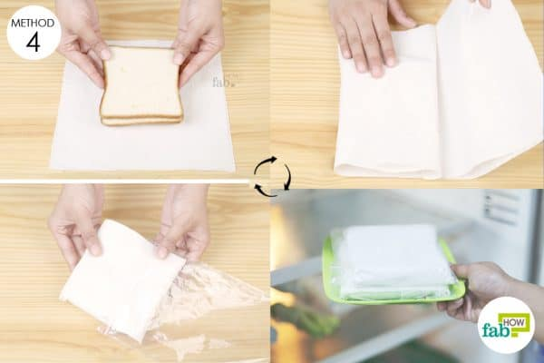 wrap bread slices in paper towel