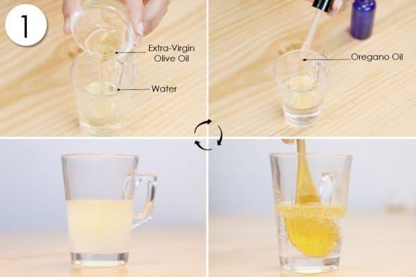 add oregano oil and water