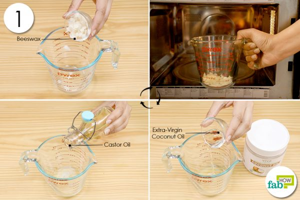 melt beeswax to make homemade face highlighter