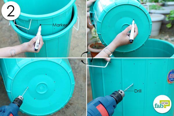 drill hole in worm bin