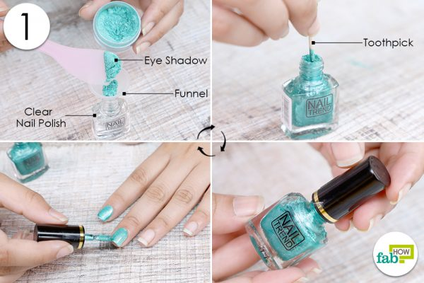 mix eye shadow in clear nail polish