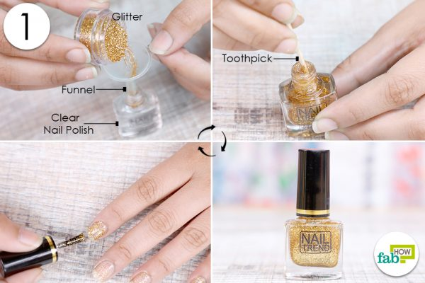 mix glitter in clear nail polish