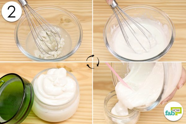 whisk the ingredients for curl cream