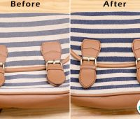 before after for clean canvas bag