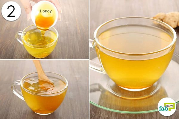 mix honey in ginger tea to drink